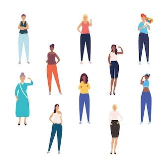 多様性の女の子のグループ異人種間のキャラクターのイラスト