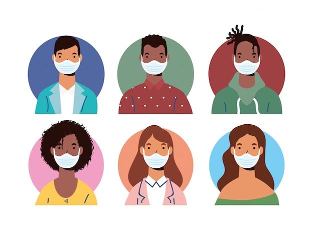 의료 마스크 문자를 입고 다양성 사람들의 그룹