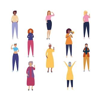 多様性女性キャラクターイラストのグループ