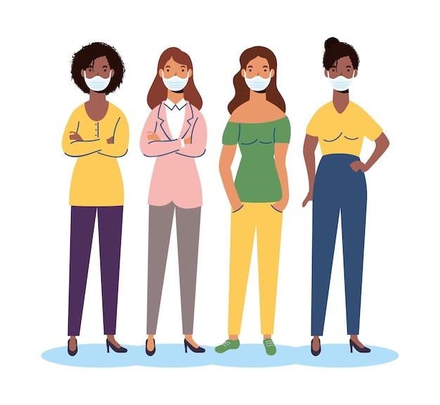 의료 마스크 문자를 입고 다양성 여자의 그룹