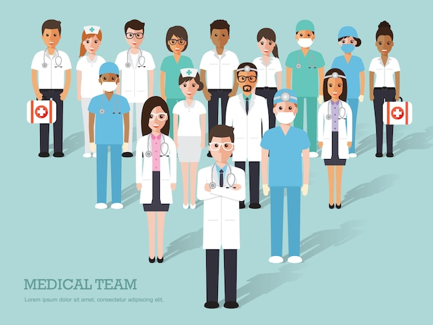 医師と看護師のグループおよび医療スタッフ