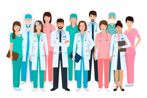 Группа врачей и медсестер, стоя вместе в разных позах. медицинские люди. больничный персонал.