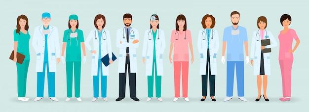 Группа врачей и медсестер, стоя вместе. медицинские люди. больничный персонал.