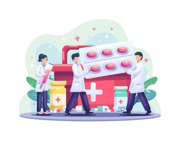 Группа врачей приносит лекарства и таблетки для здоровья