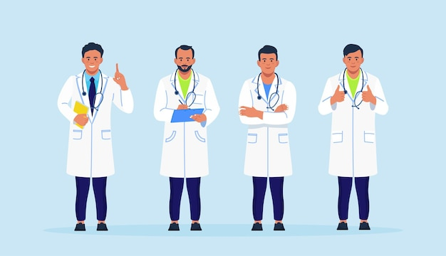 함께 서 있는 청진 기와 코트에 의사의 그룹입니다. 의료진, 의사, 의료진 유니폼을 입은 병원 직원 팀이 있는 배너