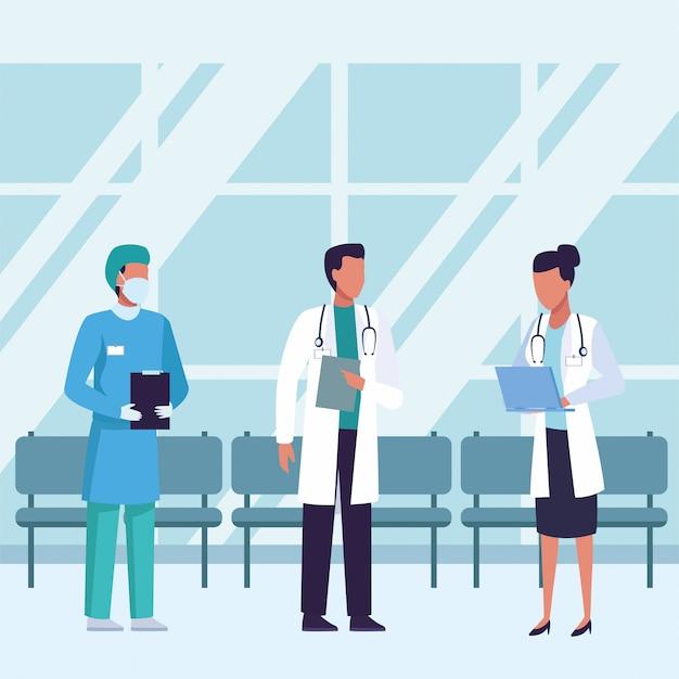 待合室の中に医療マスクを着ている医師のグループ