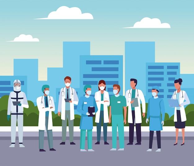都市の医療マスクを身に着けている医者のグループ