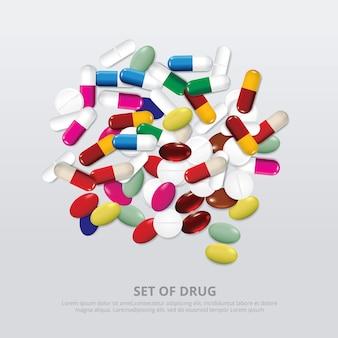 薬物のリアルなイラストのグループ