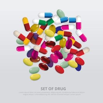 薬物の現実的なイラストのグループ