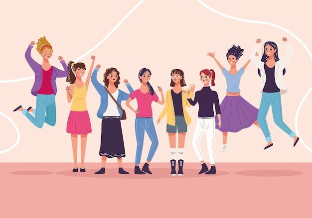 Группа из восьми красивых молодых женщин-персонажей празднует иллюстрацию