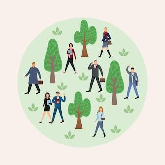 사무실 그림에 다시 공원에서 산책하는 8 명의 비즈니스 사람의 그룹