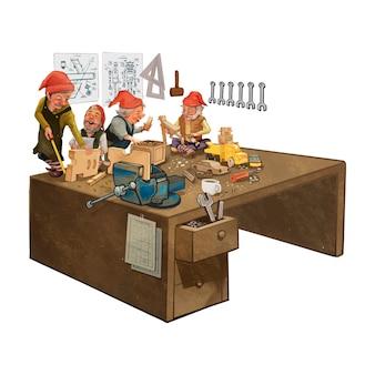 Group of elves working in a Santa s workshop
