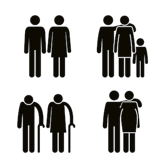 家族のグループアバターシルエット
