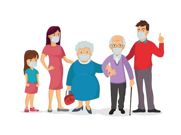 コロナウイルスを防ぐために医療用マスクを着用している家族のグループ。