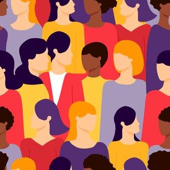 女性の異なる民族のシームレスなパターンのグループ