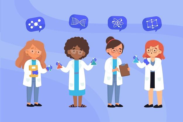 여성 과학자 illutration의 그룹