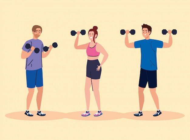 피트니스 사람들의 그룹, 운동을 연습하는 사람들
