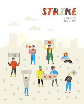 ストライキで抗議するフラットな怒っている人々のグループ。バナーやプラカードで何かに対してピケッティングするキャラクター。デモ、抗議、ピケ。ベクトルイラスト