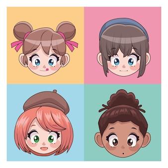 4人の美しい異人種間のティーンエイジャーの女の子のアニメの頭のキャラクターのイラストのグループ