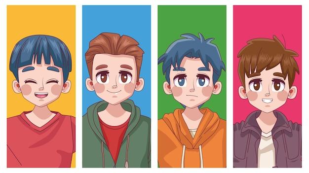 4 명의 귀여운 젊은이 소년 청소년 만화 애니메이션 캐릭터 일러스트의 그룹