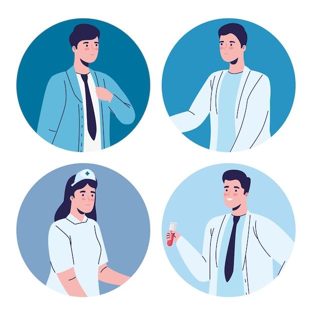 4 명의 의료진 근로자 문자 그림 그룹