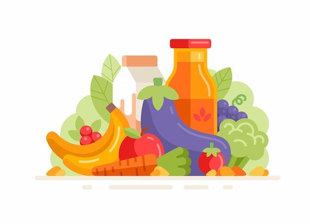 新鮮な野菜や果物のグループ。フラットイラスト