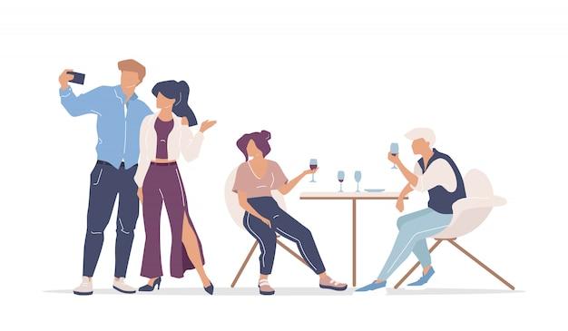 Группа друзей в ресторане плоского цвета безликих персонажей