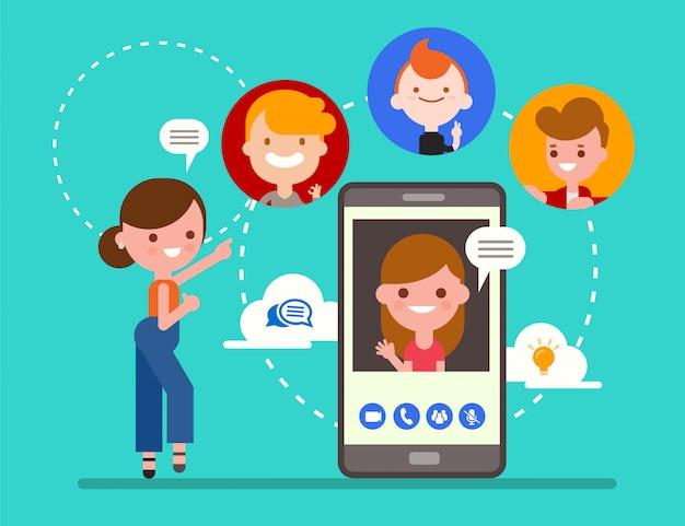 Группа друзей в чате онлайн с помощью приложения видеозвонка с смартфона. социальные медиа технологии концепции иллюстрации. плоский дизайн стиль мультипликационный персонаж.