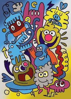 Группа друзей смешно, иллюстрация, симпатичные рисованной каракулей,