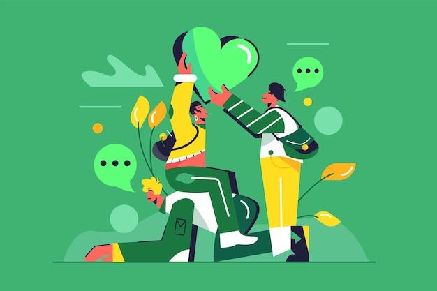 大きな緑の心を保持している友人のグループ、男に座っている女の子、緑の背景で隔離のバッグを持つ男、フラットなイラスト