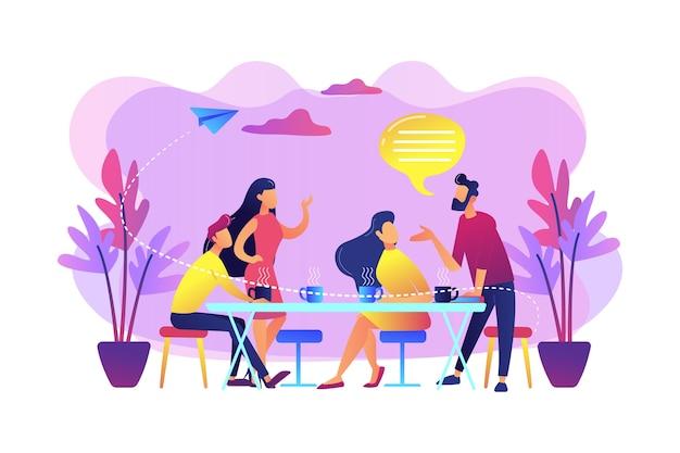 テーブルに座って話したり、コーヒーやお茶を飲んだり、小さな人々のグループ。友達との出会い、友達を元気づける、友情サポートのコンセプト。