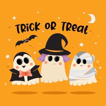 Группа призраков в костюме хэллоуина