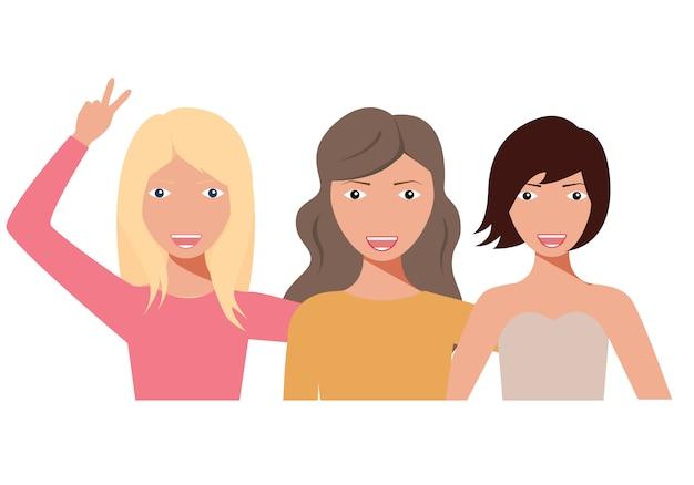 포옹하는 여자의 그룹