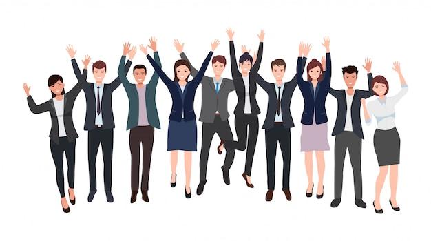 Группа счастливых бизнесменов и бизнес-леди, поднимающих руку, празднует успех в плоском дизайне иконок