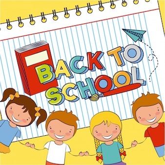 Группа счастливых детей, обратно в школу, редактируемые иллюстрации
