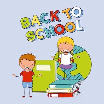 本、学校、編集可能なイラストに戻ると幸せな子供たちのグループ