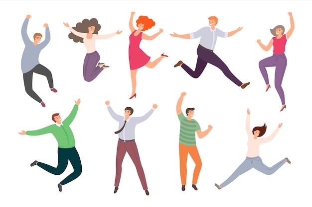 흰색 배경에 고립 된 평면 스타일에 행복 점프 사람들의 그룹입니다. 재미있는 만화 여자와 남자의 손으로 그린 컬렉션입니다.