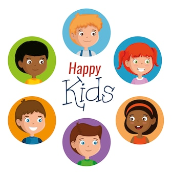 Group of happy kids characters