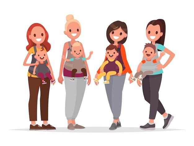 Группа счастливых матерей с детьми в слинге. мамы с детьми. в плоском стиле