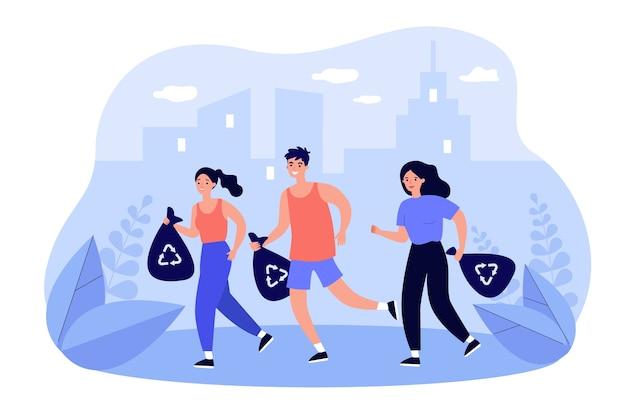 조깅하는 동안 쓰레기를 줍는 행복한 사람들의 그룹입니다.