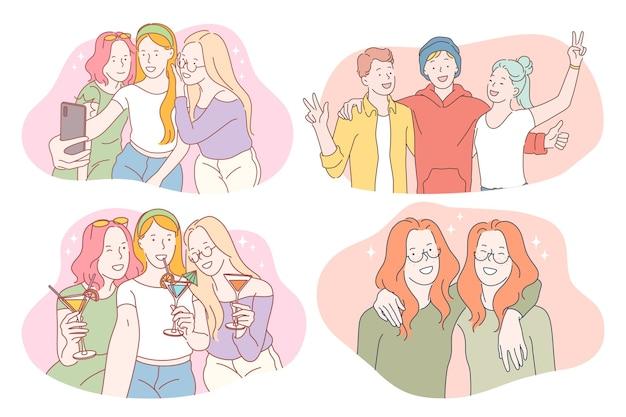 幸せな笑顔の人々のグループ