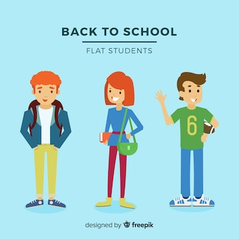 Group of happy students with flat design