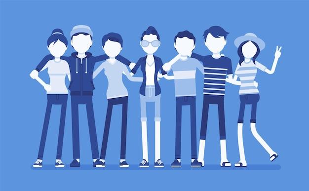 Группа счастливых друзей-подростков