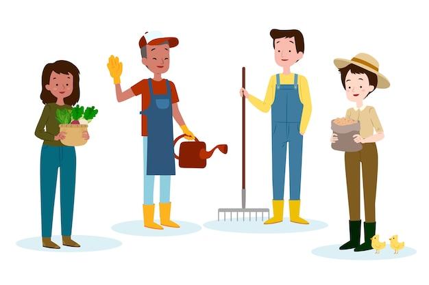 Группа иллюстрированных сельскохозяйственных рабочих