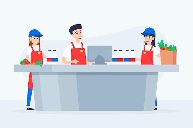 Группа иллюстрированных работников супермаркетов