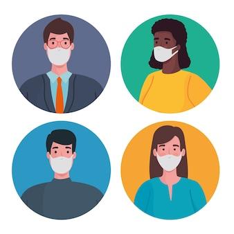 Группа межрасовых людей в медицинских масках персонажей