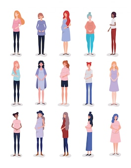 Группа межрасовых женщин беременность персонажей