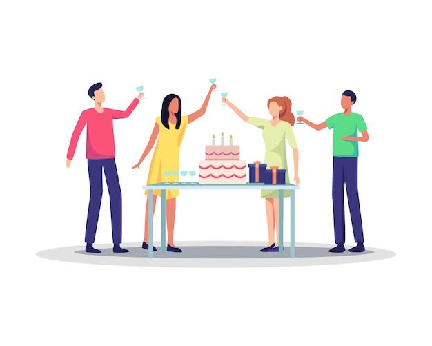 생일 파티를 축하하는 즐거운 사람들의 그룹입니다. 생일 파티에서 즐거운 시간을 보내는 남녀 캐릭터, 휴일을 축하하는 프렌즈 캐릭터. 평면 스타일의 벡터 일러스트 레이 션