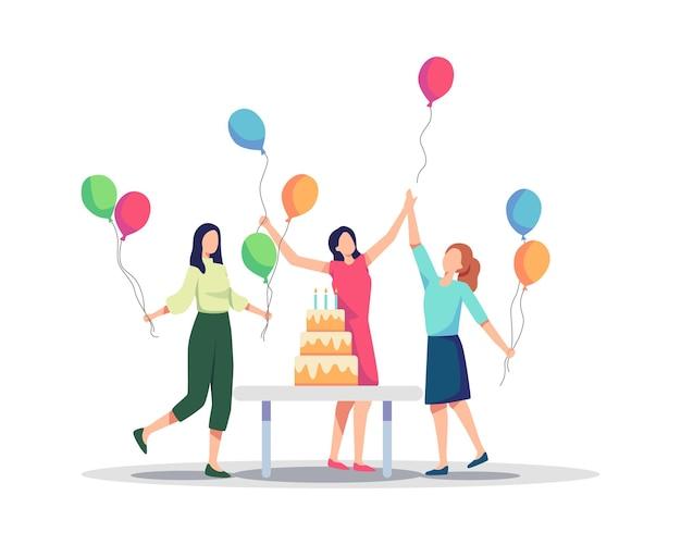 생일 파티를 축하하는 즐거운 사람들의 그룹입니다. 생일 파티에서 즐거운 시간을 보내는 젊은 여성 캐릭터, 휴일을 축하하는 프렌즈 캐릭터. 평면 스타일의 벡터 일러스트 레이 션