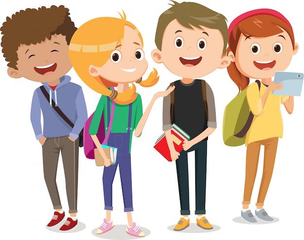 Группа детей, ходить в школу вместе. обратно в школу